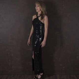 Long length black sequined formal gown
