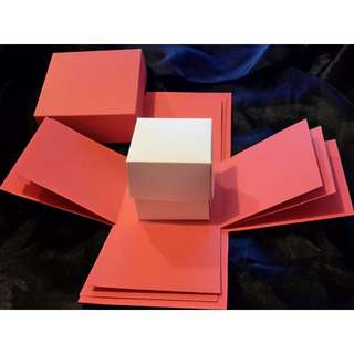 Exploding Box Shell with BONUS Gift BOX - DIY decorating - Red Explosion Box