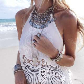 Hobo Bohemian Halter Neck Gypsy Backless White Top
