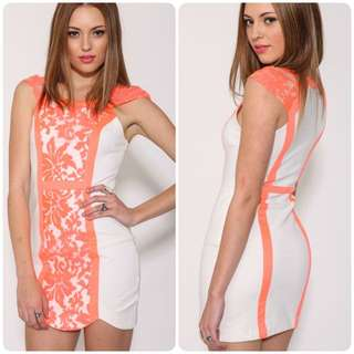 White Orange Bodycon Dress 8