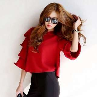 BN Red Lotus Layered Flare Sleeve Blouse