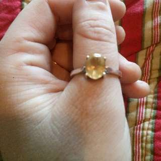925 Silver Band Citrine Ring.