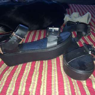 Chunky Platform Open Toed Shoes.