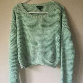 Green Cropped Knitted Jumper