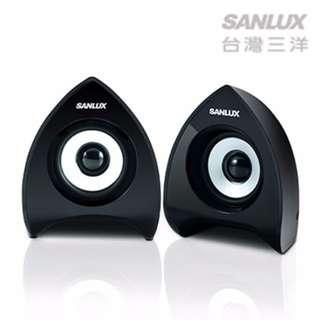 【迪特軍3C】台灣三洋2.0聲道USB多媒體電腦喇叭(SYSP-233) USB電源 LED電源顯示 防磁設計
