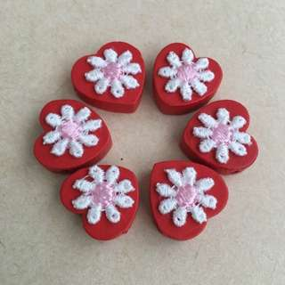 (NEW) Floral Wooden Beads (Red)