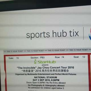 """""""THE INVINCIBLE"""" Jay Chou Concert Tour 2016. 地表最强 ***LAST 2 UP FOR GRABS***"""
