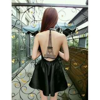 (On Sale!!) Paris Eiffel Tower Black Dress