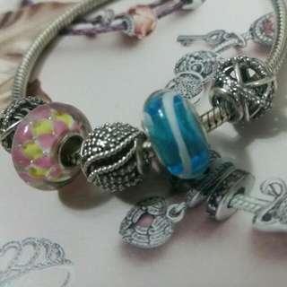 琉璃串珠藍色波浪黃色藍色小花粉紅色夾黃色Sisi Beads Pandora可用