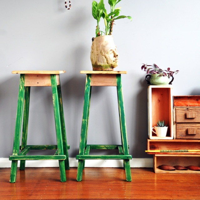2 handcrafted wooden stools - oregon legs & oak base top cypress