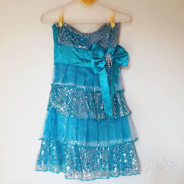 全新水藍蝴蝶可愛短禮服/小禮服