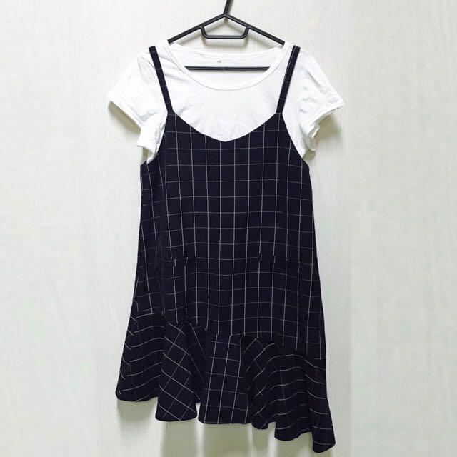 格紋魚尾設計洋裝(含運)