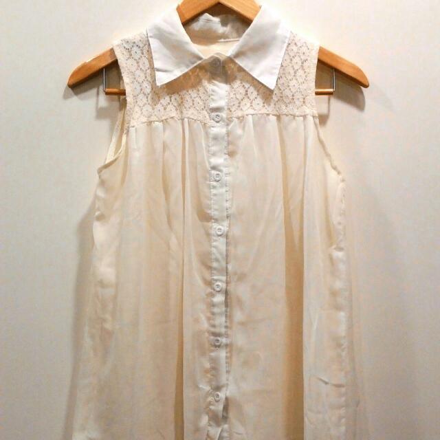 ❃3入免運區❃米白色雪紡無袖襯衫領上衣 #出清舊愛