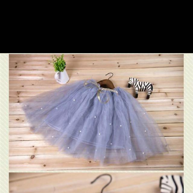 百折半身紗裙 灰色
