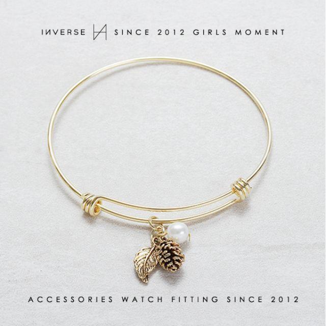 B0602-KOREA 氣質珍珠松果葉片樹葉吊飾細手環