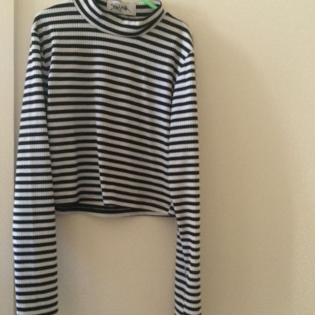 Black And White Striped Cuff Neck Aver N Ever Long Sleeve Crop
