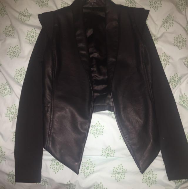 Black Faux Leather Jacket 6 8