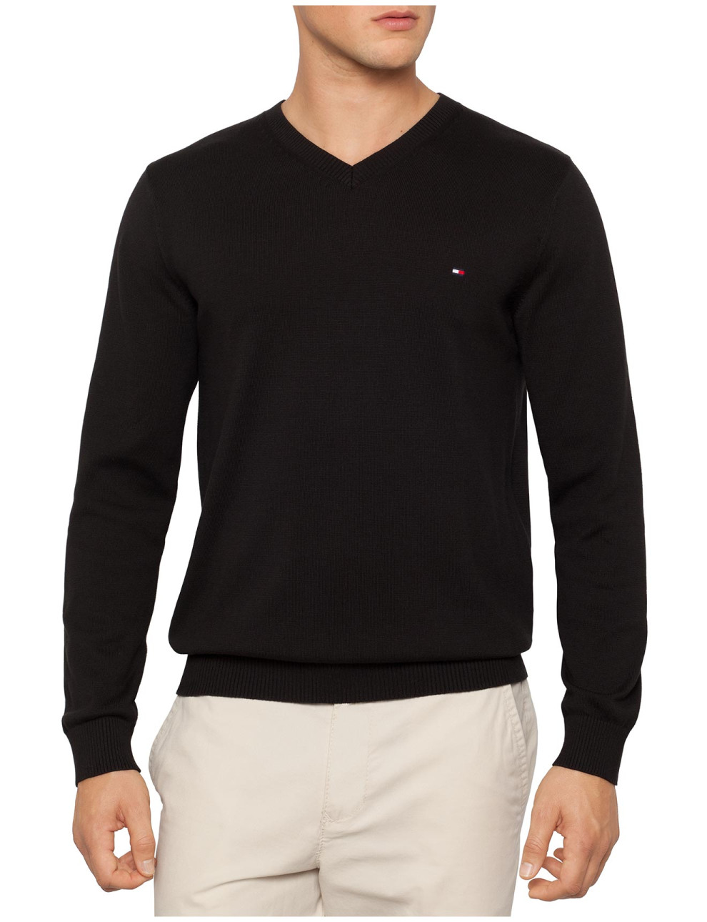 BLACK TOMMY HILFIGER SWEATER VNECK