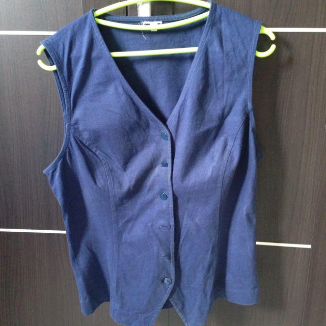 Blue Cotton Vest