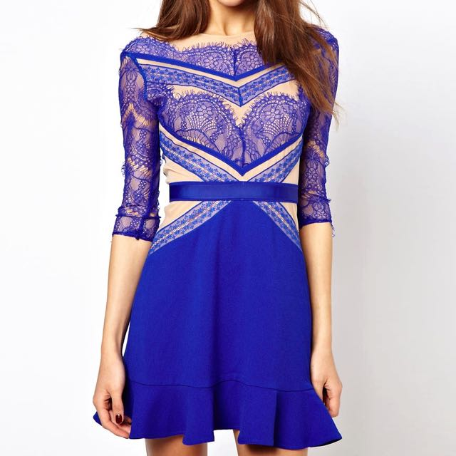Blue Nude Lace Dress