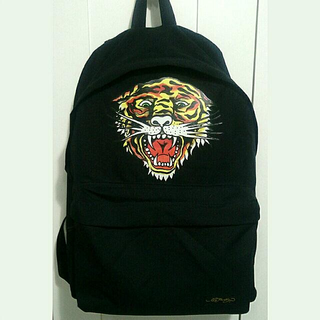 Ed Hardy 老虎 前袋設計款黑後背包
