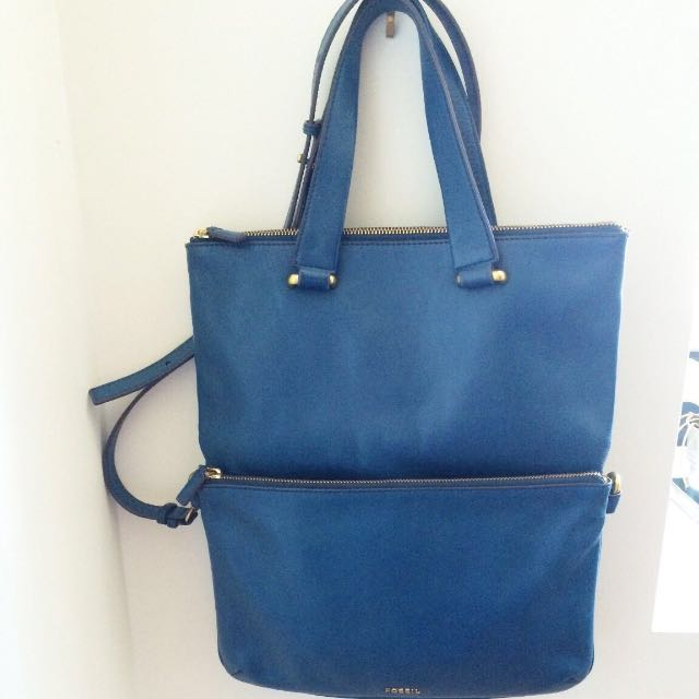 Fossils Foldover Turquoise Leather Bag