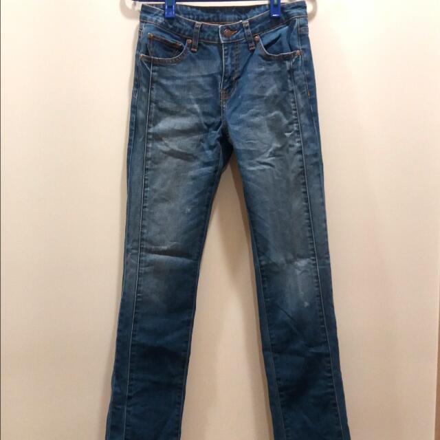 Lativ中藍色刷白修身直筒牛仔褲 #出清舊愛