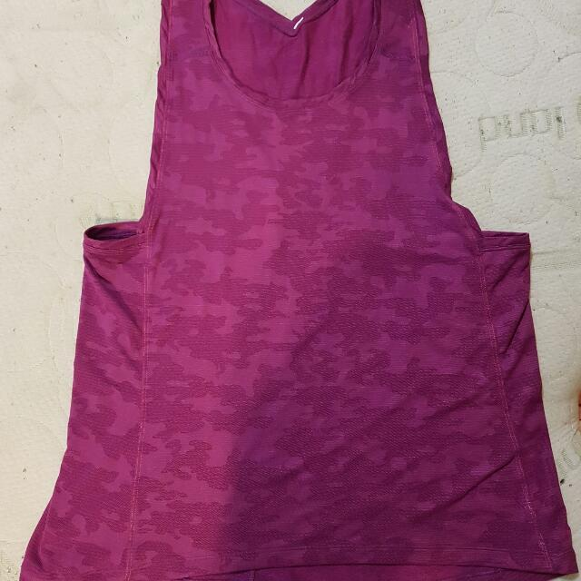 Lululemon Muscle Tank Top Purple Camo Can 6/8 Aus 10/12