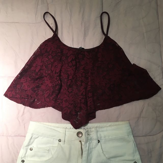 Maroon Lace Cropped Tank