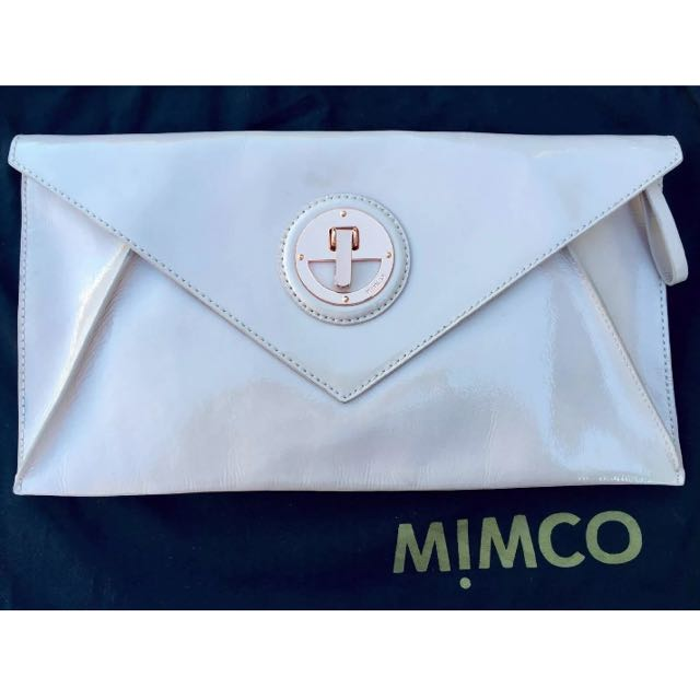 MIMCO Molten Patent Pink Envelope Clutch