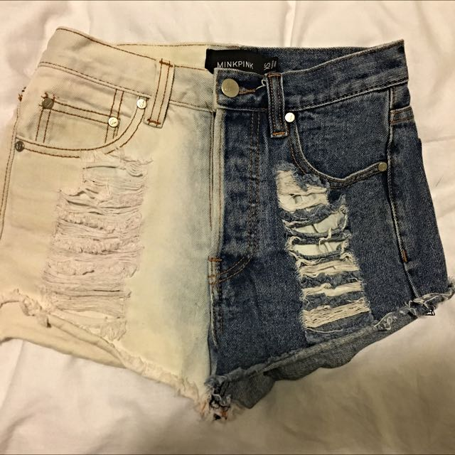 Minkpink Two tone Distressed Denim Shorts