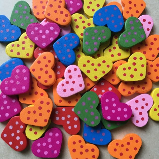 *SALE* Assorted Wooden Polka Dotted Heart Beads