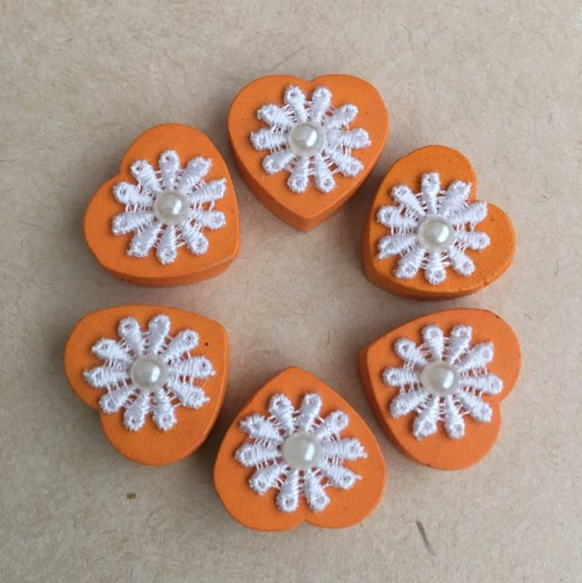 (NEW) Floral Wooden Beads (Orange)