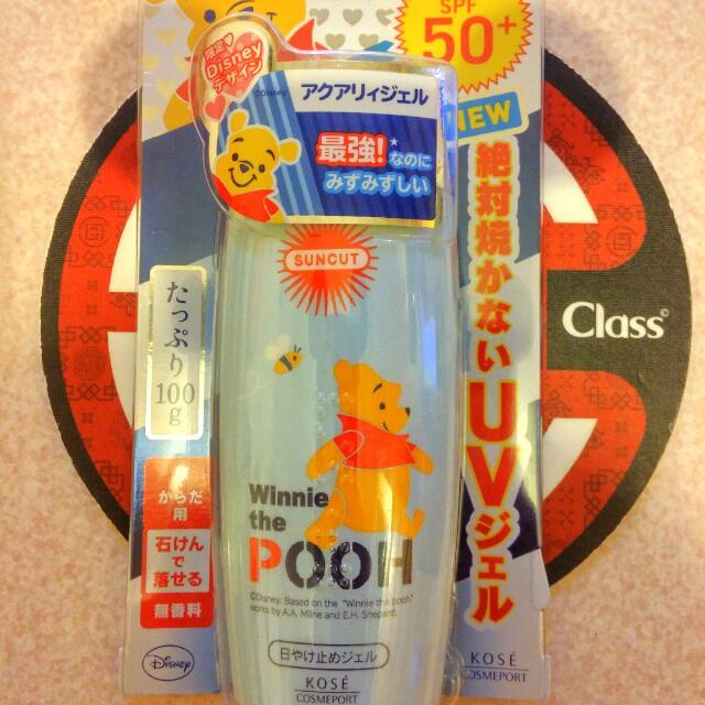 夏季限時出清!!SPF50+ PA++++ 日本SunCut  UV 曬可皙高效防曬凝露  👍👍👍👍夏季必備 最強防曬  ❤Disney 小熊維尼。限量版 ❤清透劑型,洗面乳即可卸除