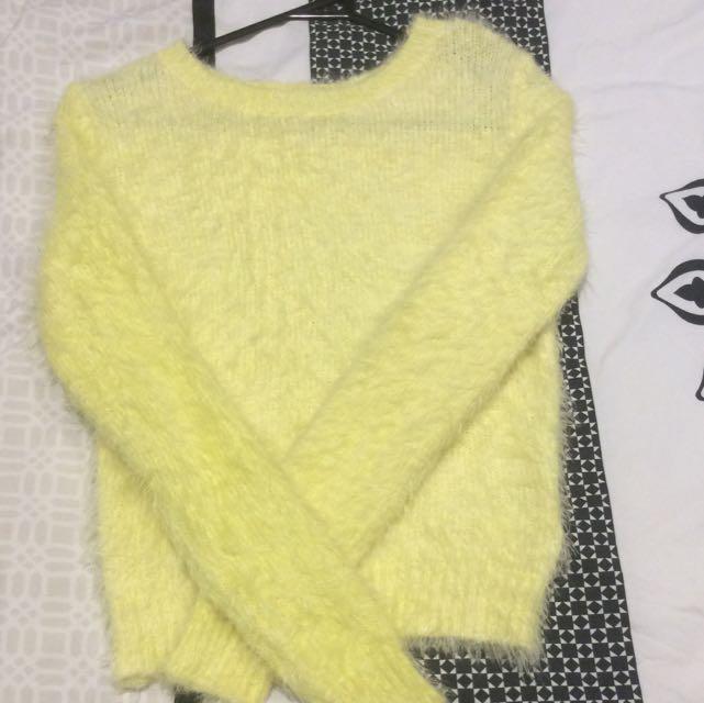 Sz 6 Bardot Yellow Fluffy Jumper