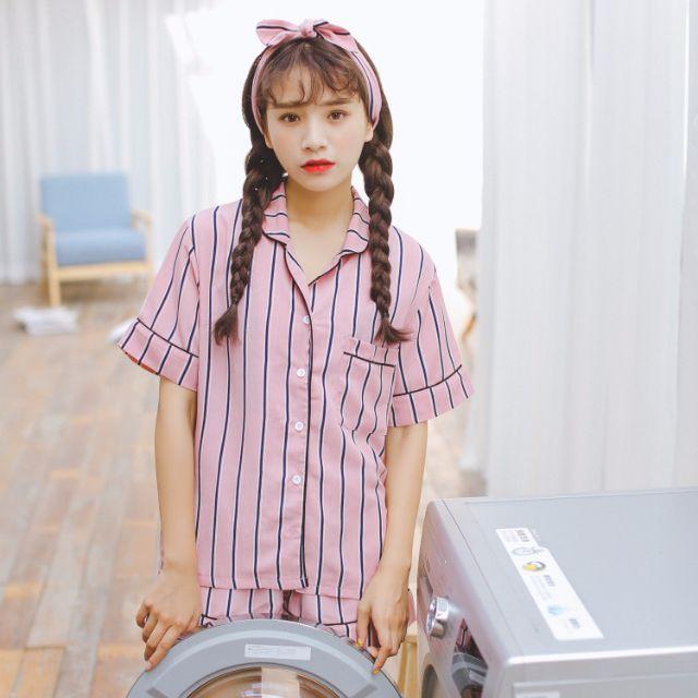 預購/韓ulzzang粉色條紋夏季成套睡衣三件組[短袖襯衫+短褲+頭巾]