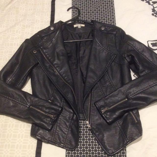 Valleygirl Black Pu Leather Jacket Sz 8