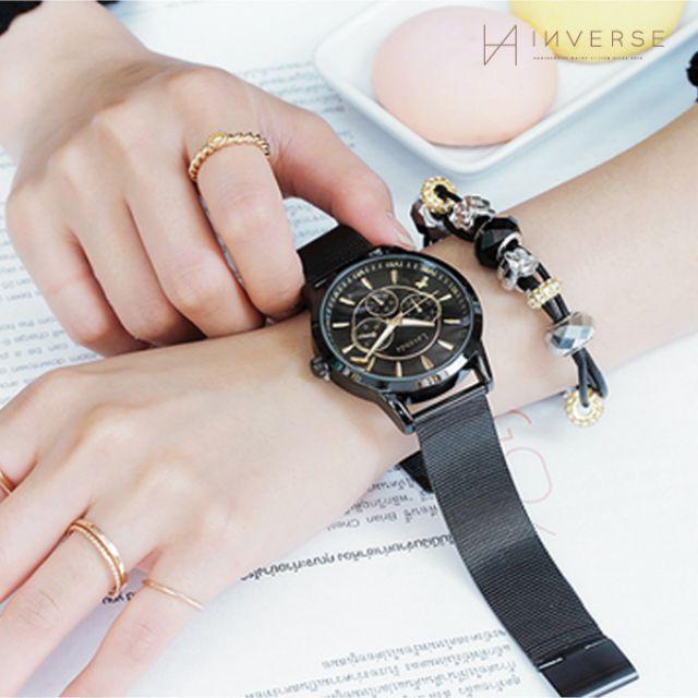 W0601-KOREA Lavenda韓國品牌經典羅馬造型三眼金屬錶帶大錶