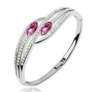 精美奧地利水晶玫紅白晶鑽手環