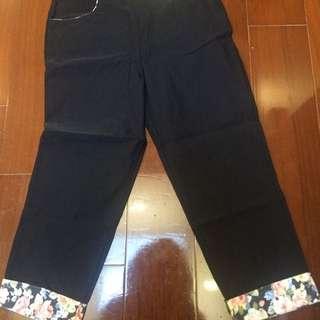黑色花花長褲
