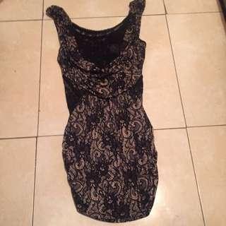 Drop Down Lace Layered Peekaboo Dress