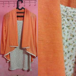 Flowery Orange Cardigan