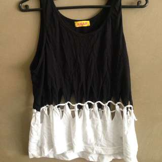 Black & White Tank With Cut Out Detail