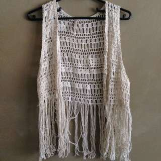 Cream Fringed Vest