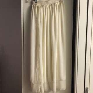 American Apparel White Chiffon Skirt