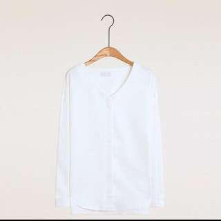 Meierq 白色 暗扣 襯衫