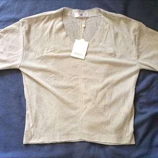 針織衫V領七分袖薄針織上衣