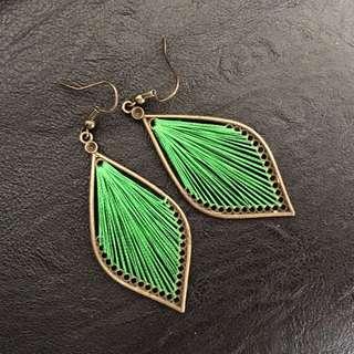 Green Woven Leaf Earrings