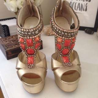 Gold High Heels With Orange Detail