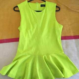 Bardot Lime Top